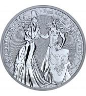 """Срібна монета 1oz Алегорії Німеччини та Британії 5 Марок 2019 Німеччина """"Limited Edition for WORLD MONEY FAIR'20"""""""
