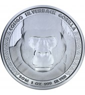 Срібна монета 1oz Сільвербек Горила 5000 франків КФА 2016 Конго