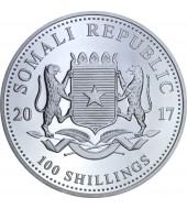 Срібна монета 1oz Слон 100 шилінгів 2017 Сомалі