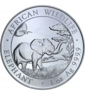 Серебряная монета 1oz Слон 100 шилингов 2019 Сомали