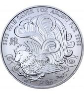 Серебряная монета 1oz Год Петуха 5 долларов 2017 Канада