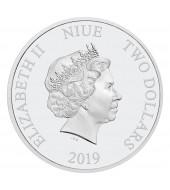 Срібна монета 1oz Тетріс 35-ти річчя 2 долара 2019 Ніуе (кольорова)
