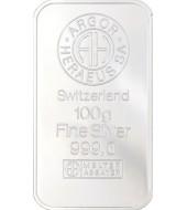 Серебряный слиток 100 грамм 999 Fine Silver Argor-Heraeus