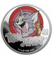 Серебряная монета 1oz Том и Джерри 80 лет 1 доллар 2020 Тувалу (цветная)