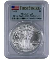 Срібна монета 1oz Американський Орел 1 долар 2016 США (PCGS MS69)