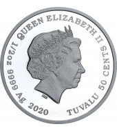 Серебряная монета 1/2oz Всегда Вместе 50 центов 2020 Тувалу (цветная)