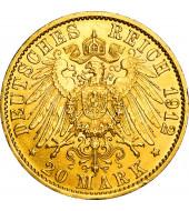 Золота монета Вільгельм II 20 марок 1912 Прусія Німецька Імперія