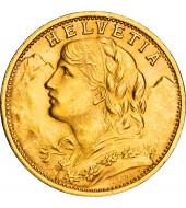 Золота монета Гельвеція 20 франків 1935 Швейцарія