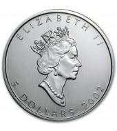 Срібна монета 1oz Кленовий Лист 5 доларів 2002 Канада