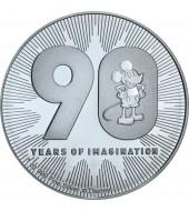 Серебряная монета 1oz Микки Маус Дисней 90 лет 2 доллара 2018 Ниуэ