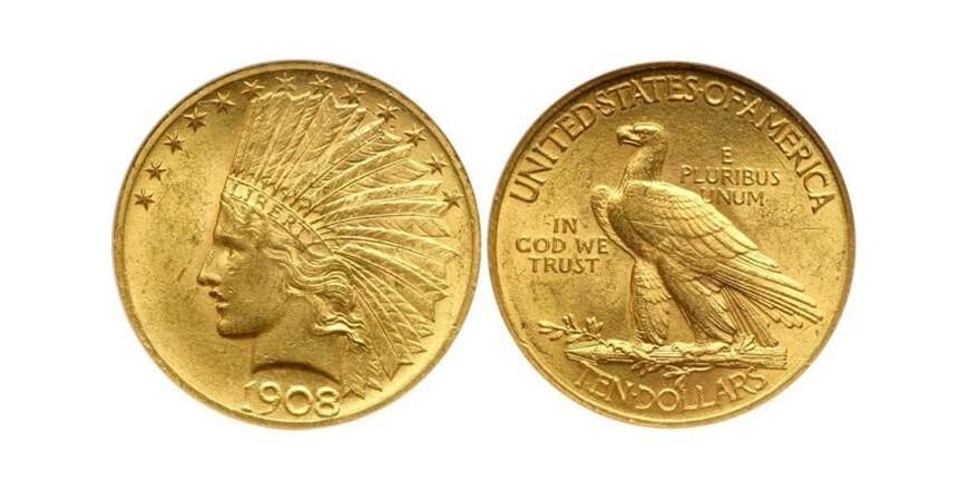 Монета 10 американских долларов